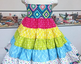 OOAK OTT  Rainbow Extra Full Twirl Dress will Fit size 5/6  RTS (only one available)  Dress Children Size