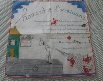 Kreier 100% Cotton Handkerchief, character hankie, french English  Kreier hankie, Vintage hankie, 1950s nostalgia handkie, homard hankie,