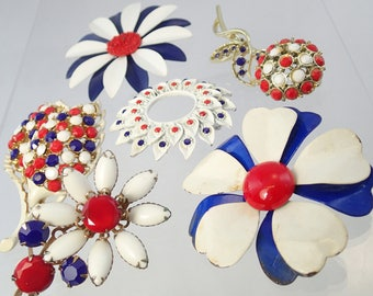 FREE Shipping Vintage Red White and Blue Flower Power Enamel Brooch Lot of 6 Pins Rhinestone Airbrush 4th of July Independence Day Daisy