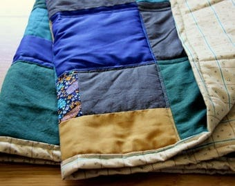 Blue and Gold Patchwork Baby Quilt
