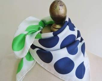 1950s polka dot scarf, blue green scarf, silk scarf square, silk neckerchief,rockabilly scarf, pin up fashion, old echo. 50s style
