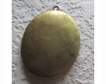 Oval, Locket, 46x38MM, Original, L Kilmartin Tool Company, Vintage, Smooth, Hinged, Raw Brass, 2 Large, Photo, Compartment, Pendant