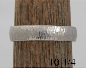 14k palladium white gold wedding band, size 10 1/4 and custom sizes, lightly hammered, #413.