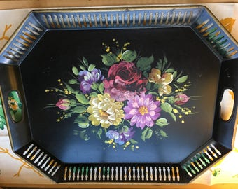 Vintage black tole tray green purple serving home decor