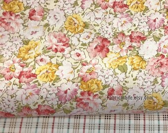 "Floral Cotton Fabric, Shabby Chic Fabric, Pink Yellow Flower Fabric Chic Style- 1/2 yard 18""X43"""