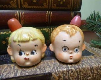 RARE........ 1960s Campbells Soup Children Head Salt and Pepper Shakers  (T)