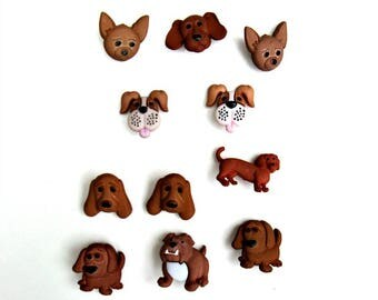 Set of 11 dog faces and standing dog shank buttons