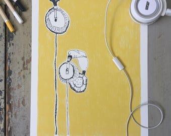 Music is life - headphones art print