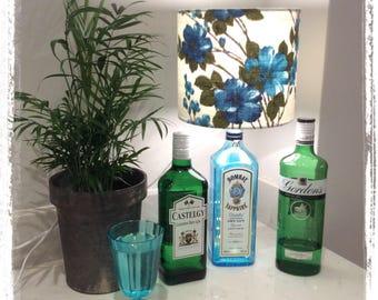 vintage barkcloth lampshade - blue floral gin lamp