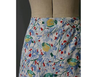 1970s Cacharel Birds on trees wrap skirt medium/1970s french wrap printed skirt M
