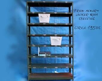 Vintage Locker Basket Shelving Unit - Industrial Furniture Decor - School Locker Room - Fred Medart - Vintage Metal Shelf - Green - 6 Foot