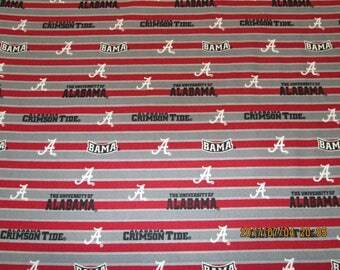 """University  of  ALABAMA  All Sport fabric """" TIDE""""  New  Style 1/2 YARD Piece  100% Cotton New Grey & Red Stripes Design"""