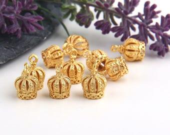 Gold, Crown Tassel Cap, Crown Cone Cap, Crown Bead Cap, 10 pieces //  GF-159