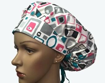 Bouffant Surgical Scrub Hat - Colorful Geometric Design Bouffant Scrub Hat - Ponytail Scrub hat - Custom Scrub Hat - Personalized Scrub hat
