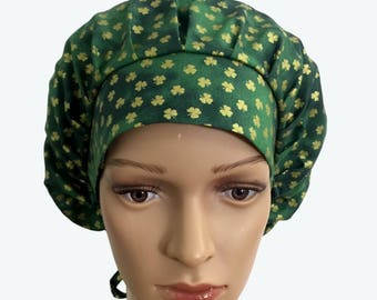 Bouffant Surgical Scrub Hat - St Patrick's Day Scrub Hat - St. Patrick's Day Gold Ponytail Scrub hat - Custom Scrub Hat - Lined Scrub Hat