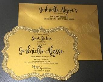 Black & Gold Glitter Invitation | Black and Gold Sweet Sixteen Invitation