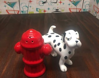 Dalmation and fire hydrant salt and pepper shakers