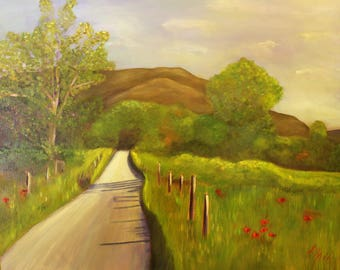 ROAD LESS TRAVELLED, 24 x 30  Original Oil Painting by Lesley Mills from Merlin's Garden Free Domestic Shipping