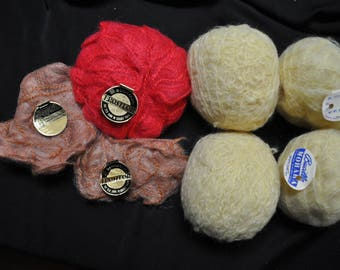 Mohair yarn - Lot of 4 Full and 3 Partial skeins -