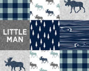 Little Man with Moose Patchwork Print Changing Pad Cover