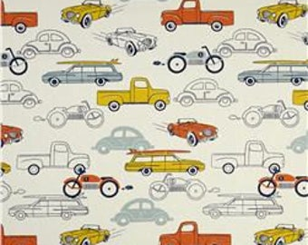 Vintage Cars (Navy/Orange/Yellow) Changing Pad Cover
