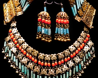 Vintage Art Deco Egyptian Revival Coral Faience Bib Parure Necklace, Bracelet & Earrings