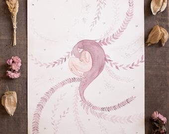 Aquarelle originale - Sona Femme-Arbre - 23x30,5cm