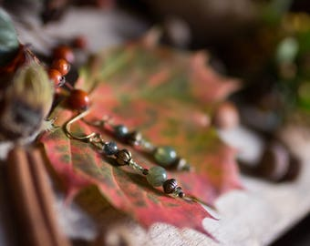 Moss agate tourmaline and peridot Earrings