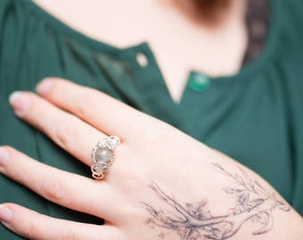 Labradorite and copper Ring