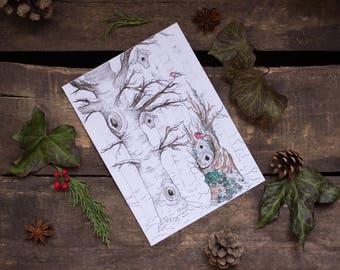 Tirage - La forêt de bouleaux en hiver - 13x18cm - illustration aquarelle