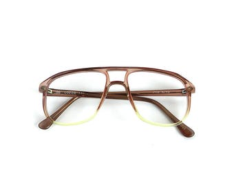 Vintage 80s Lozza Frames Eyeglass Brown Clear Translucent Oversized Preppy Geek