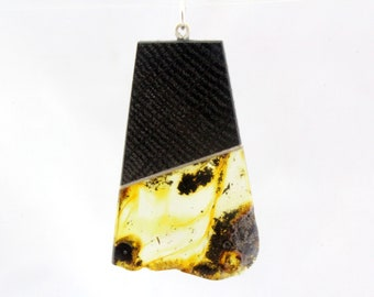 Amber with inclusiouns and bog oak wood pendant