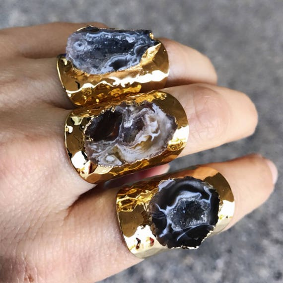 Geode Druzy Rings, Statement Rings, Crystal rings, boho jewelry