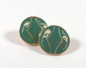 Vintage Turquoise Enamel Earrings  - Green Swirl on Gold - Costume Jewelry 1980s