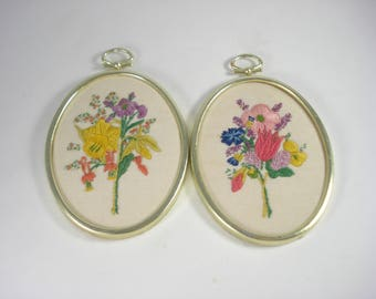 Vintage Pair of Bright Flowers Picture - Gold Frame Embroidered -  Small Wall Decor  -1960s