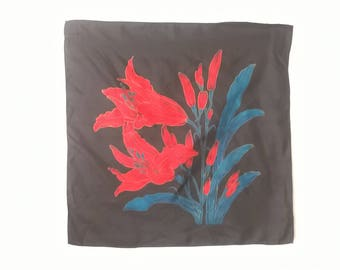 Vintage Black and Red Lily Scarf - Patterned Floral Small Square Scarves - Women's Accessories 1970s