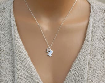 Personalized Initial Necklace / Puzzle Piece Necklace / Rose Gold Heart Charm, Autism Awareness, Charm Necklace, Sterling