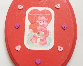 Mixed Media Vintage Care Bear Valentine Collage/ Wall Art/ Care Bear Wall Hanging