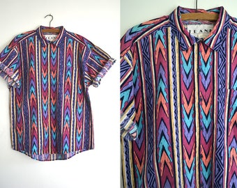 Tribal Pattern Southwestern Button Down Shirt - Rainbow Color Navajo Style 90s Vintage Short Sleeve Oxford Western Shirt - Mens Medium