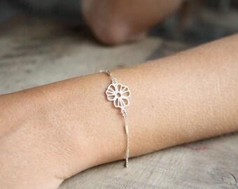 Sterling silver rose bracelet, Delicate silver flower bracelet, Silver bracelet for bridesmaids,  Delicate bridesmaid bracelet