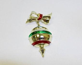 On Sale Vintage Enameled Christmas Ornament Pin Item K # 3033