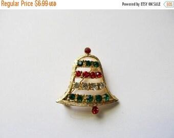 ON SALE Vintage Rhinestone Christmas Bell Pin Item K # 2457