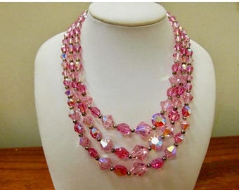ON SALE Vintage Triple Strand Pink Aurora Borealis Crystal Necklace Item K # 1693