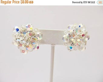 ON SALE Vintage Aurora Borealis Cluster Earrings Item K # 631