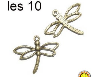 Dragonfly charm pendant 10 x bronze insect animals