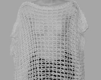 White Wedding Top, Crochet Bolero, White Dolman, Crochet White Sweater, Bridal Wear, Wedding Apparel, Womans White Sweater, Formal Wear,