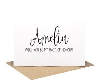 Personalised Maid of Honour Card | Wedding Card | Black Script Writing | WED061 | Will you be my Maid of Honour Card | Personalised Card