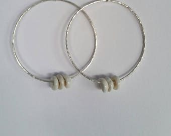 Sterling Silver Earrings with Puka Shells