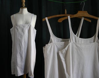 Vtg Lingerie 1910's 2 twin slip dresses,nightgowns,  white  cotton, small embroideries.