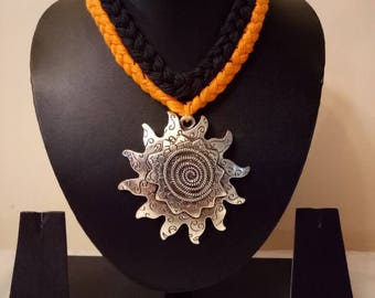 Indian Jewellry,   cotton thread necklace with oxidised silver pendant